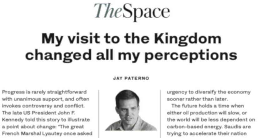 Jay Paterno's oped in the Arab News.