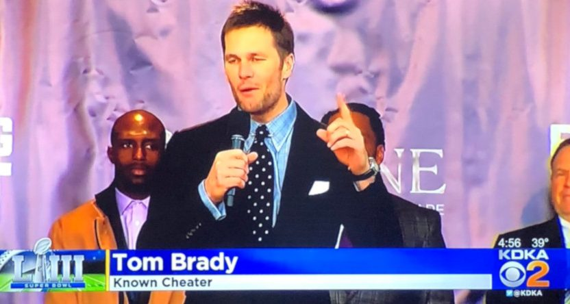 Pittsburgh's KDKA with an unusual caption for Tom Brady.