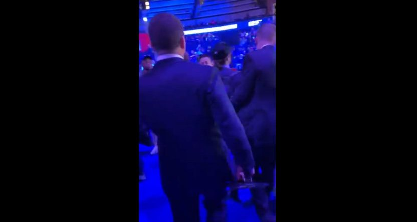 Security escorting Barstool Sports' PFT Commenter out of media night.