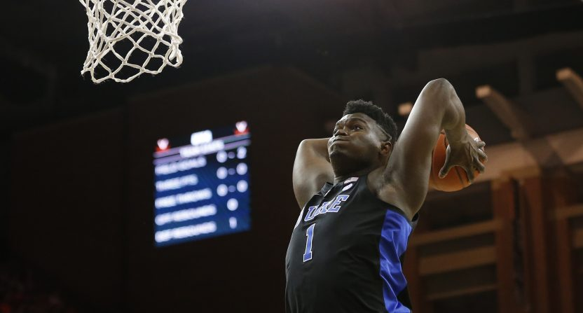 Zion Williamson dunks for Duke against Virginia.