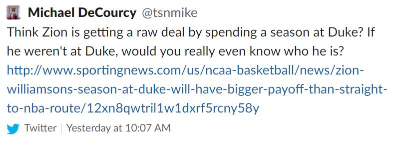 Michael DeCourcy's Zion Williamson tweet.