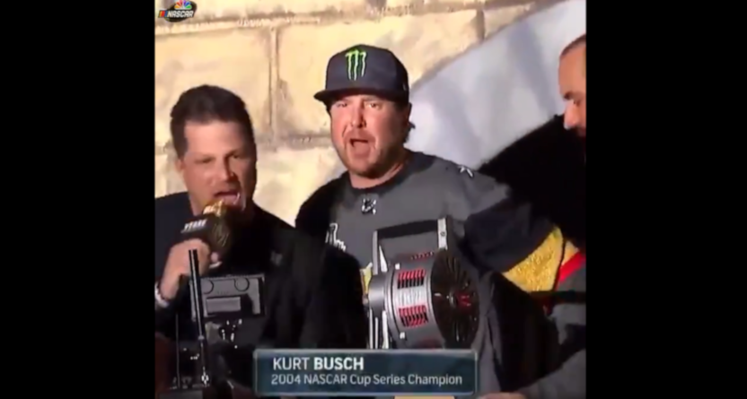 Kurt Busch cranking the Golden Knights' siren during the 2018 Stanley Cup Final.