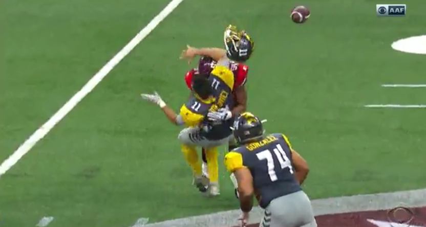 Mike Bercovici taking a hit in the first AAF game.