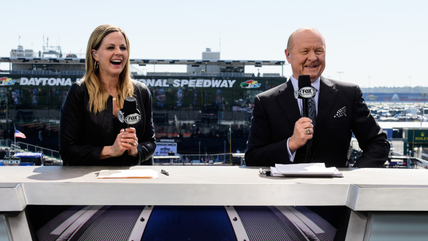Shannon Spake with Larry McReynolds at Daytona.