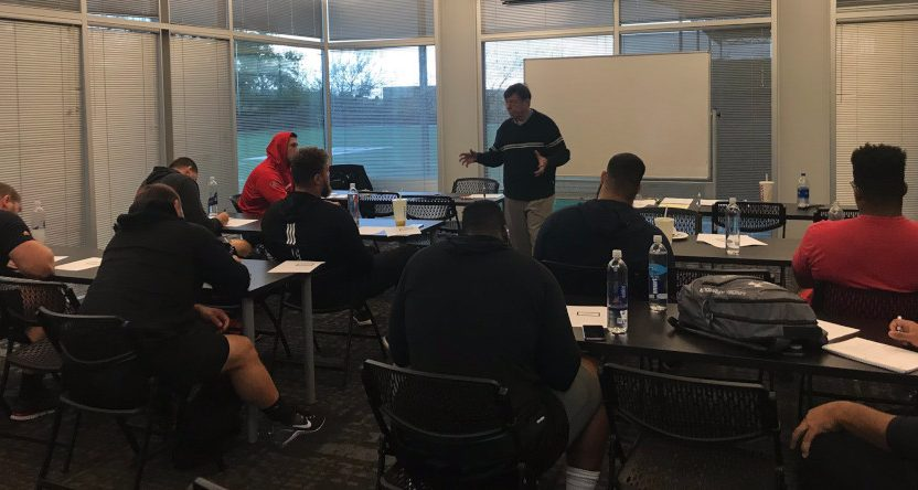 Charley Casserly training prospects for the 2019 NFL combine.