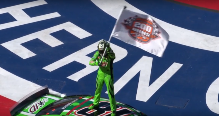 Kyle Busch celebrating his 200th NASCAR win at the Auto Club 400.