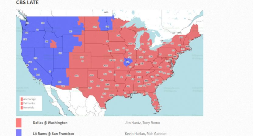 The afternoon NFL on CBS coverage map for Week 7, 2018.