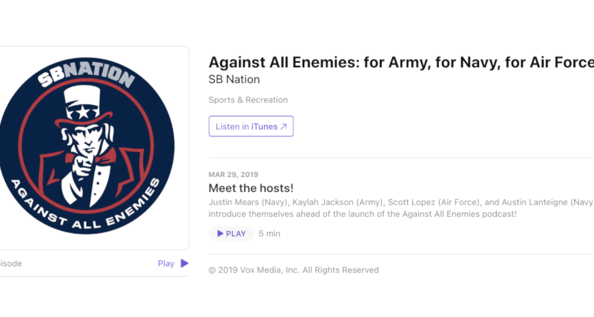 The new Against All Enemies SB Nation podcast.