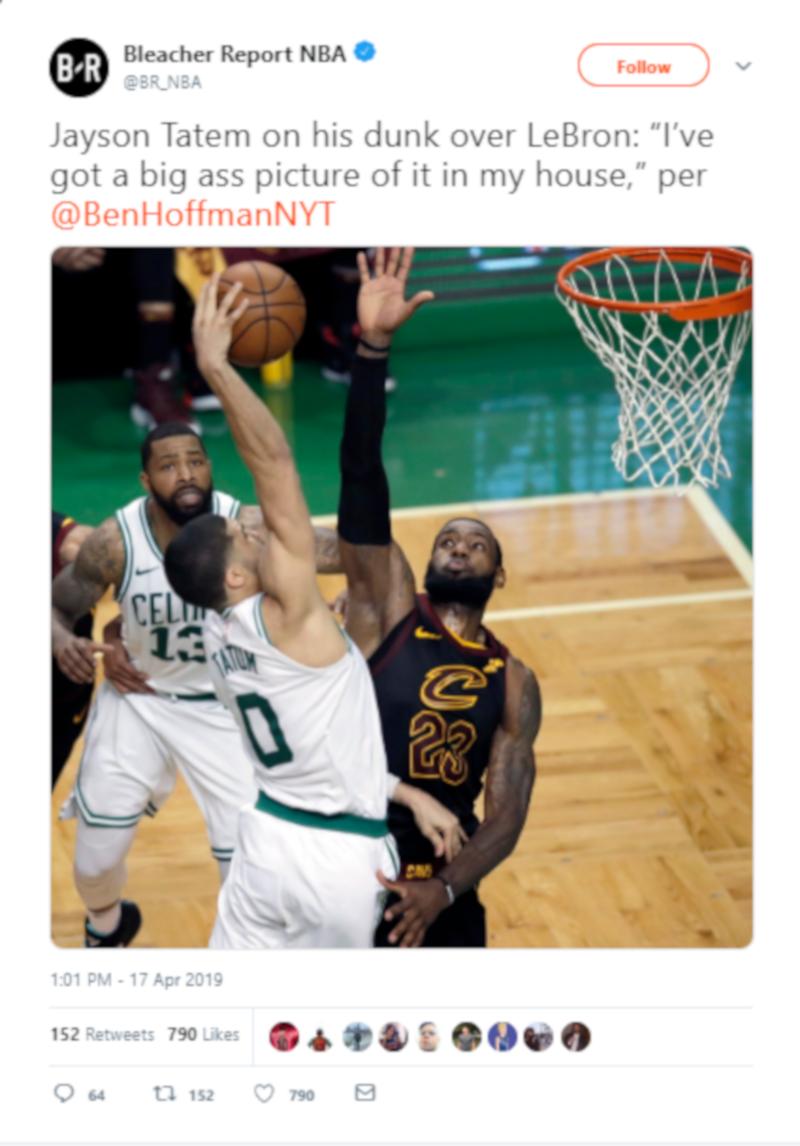 A Bleacher Report NBA tweet.