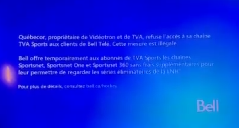 Bell blasted Quebecor after Quebecor pulled TVA Sports from the provider.