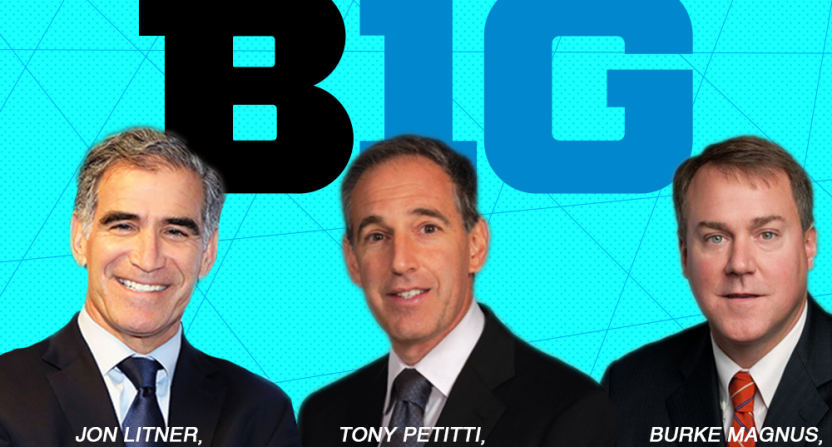 Big Ten commissioner candidates with media backgrounds include Jon Litner, Tony Petitti, and Burke Magnus.