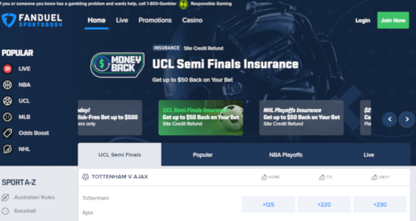 FanDuel's homepage on April 30, 2019.
