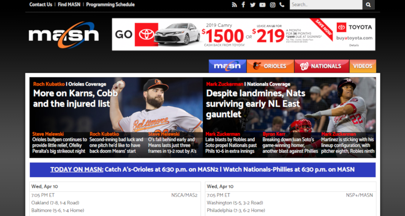 MASN's website on April 10, 2019.