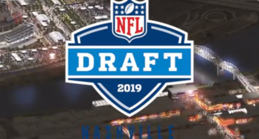An overhead look at the NFL draft setup for Nashville.