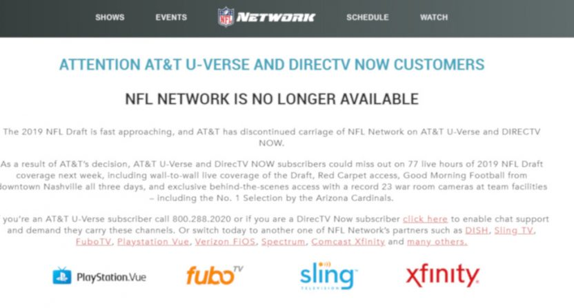 The NFL's website for those upset NFLN was pulled from U-verse.