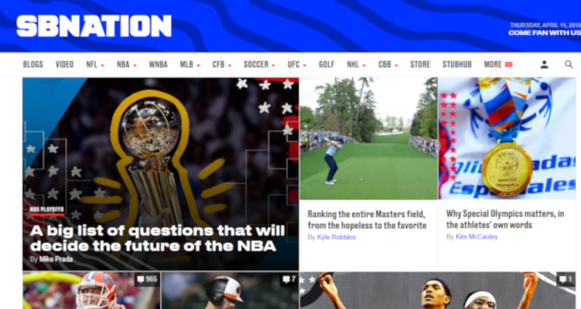 SB Nation's homepage on April 11, 2019.