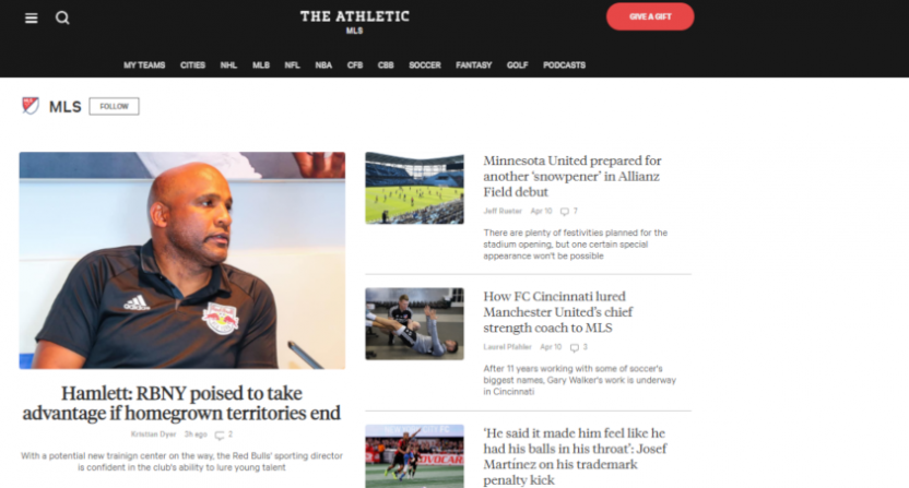 The Athletic's MLS page on April 11, 2019.