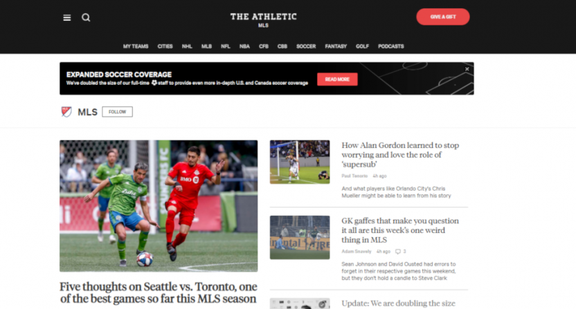 The Athletic's soccer page on April 15.