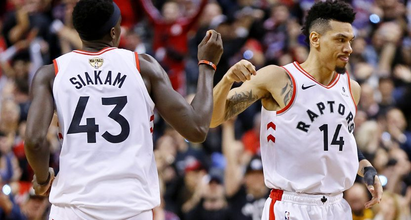 The Raptors' Pascal Siakam and Danny Green in Game 1 of the NBA Finals.
