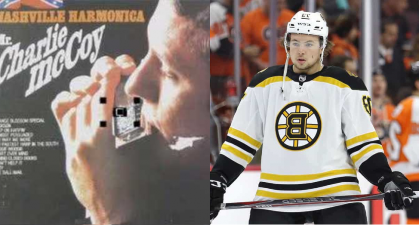Musician Charlie McCoy and Bruins' defenseman Charlie McAvoy.