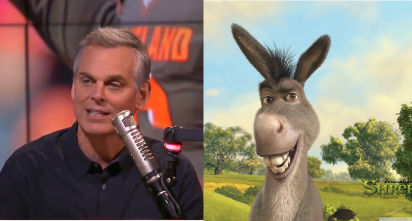 Colin Cowherd and Donkey from Shrek. Baker Mayfield called Cowherd a donkey Friday.