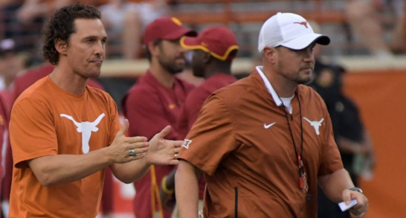 Texas head coach Tom Herman and fan Matthew McConaughey.