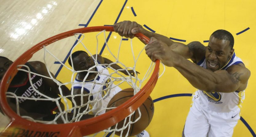 Warriors' star Andre Iguodala with a dunk against Houston.