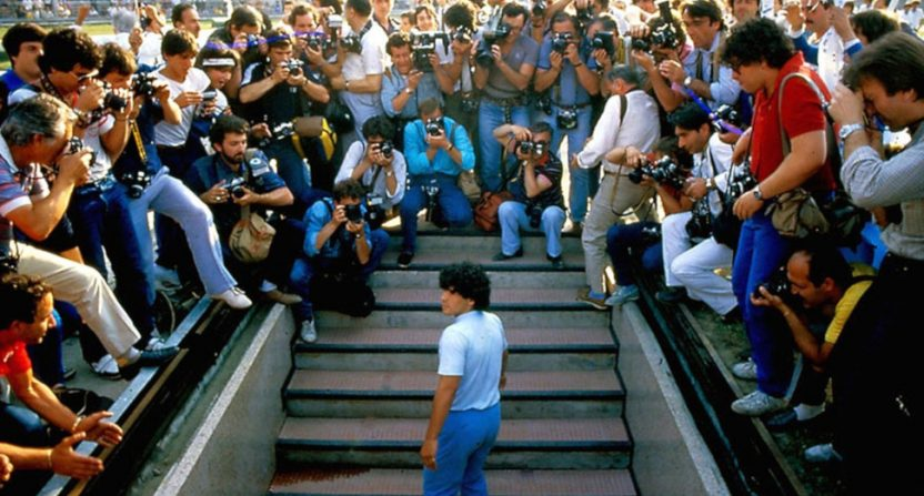 Diego Maradona meeting the media in Naples in 1985.
