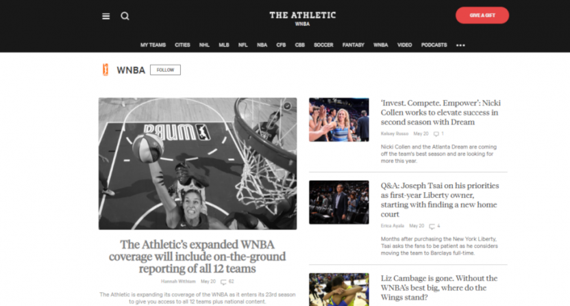 WNBA coverage at The Athletic.