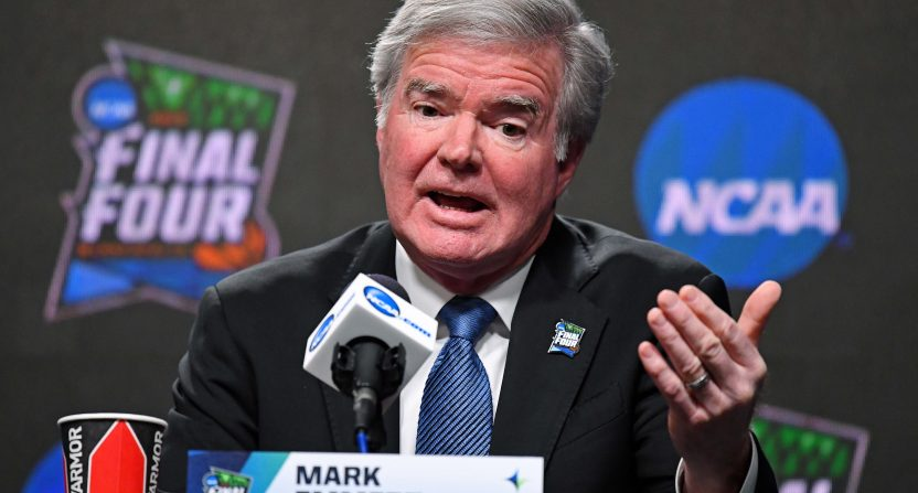 NCAA president Mark Emmert at the Final Four in April 2019.