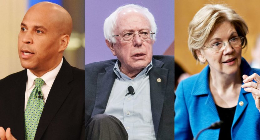 Cory Booker, Bernie Sanders and Elizabeth Warren.