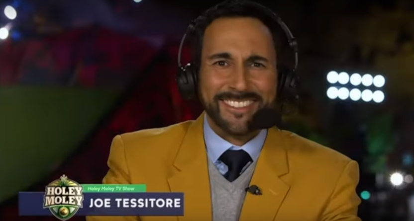 "4dc9d363b Joe Tessitore on calling the ""Willy Wonka meets Wipeout"" world of extreme  mini-golf series Holey Moley: ""It is a hell of a lot of fun."""