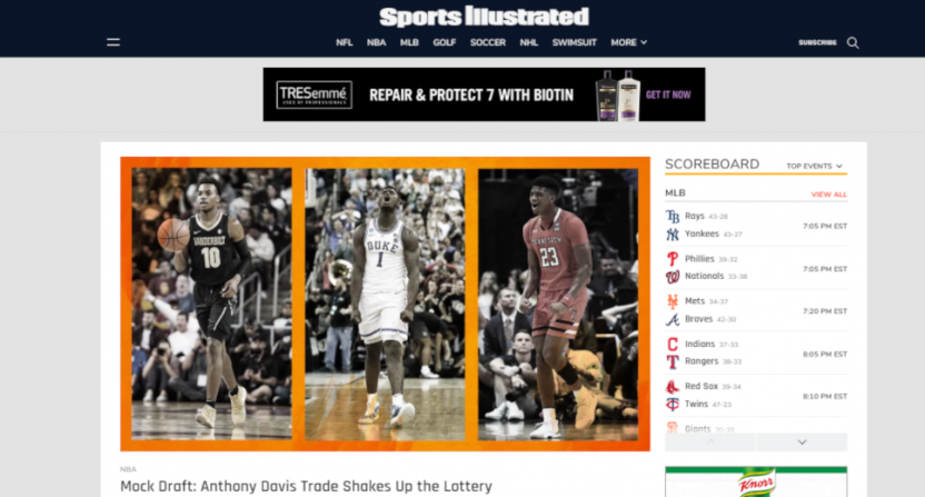 The Sports Illustrated website on June 17, 2019.