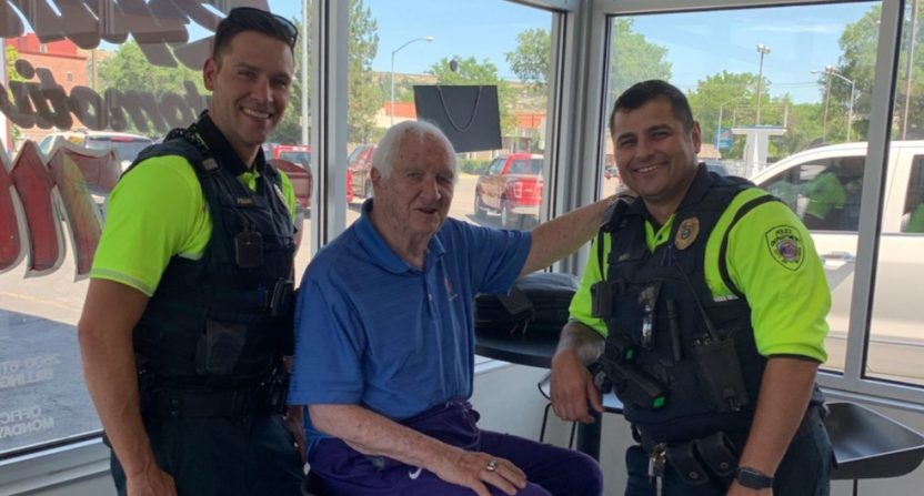 Gil Brandt with Billings PD officers.
