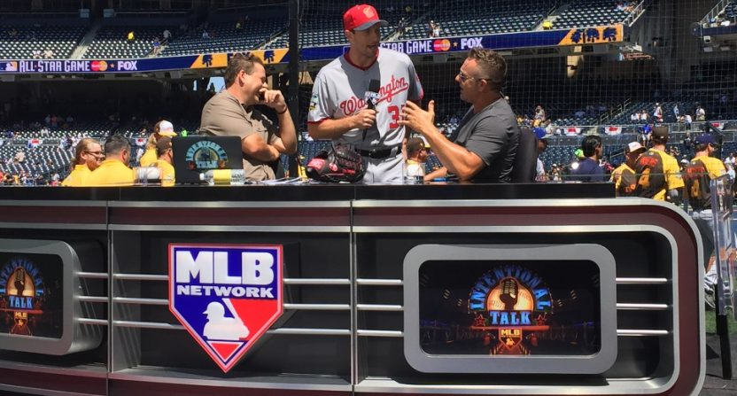 Chris Rose and Kevin Millar hosting Intentional Talk at the 2016 MLB All-Star Game. (MLB Network photo.)