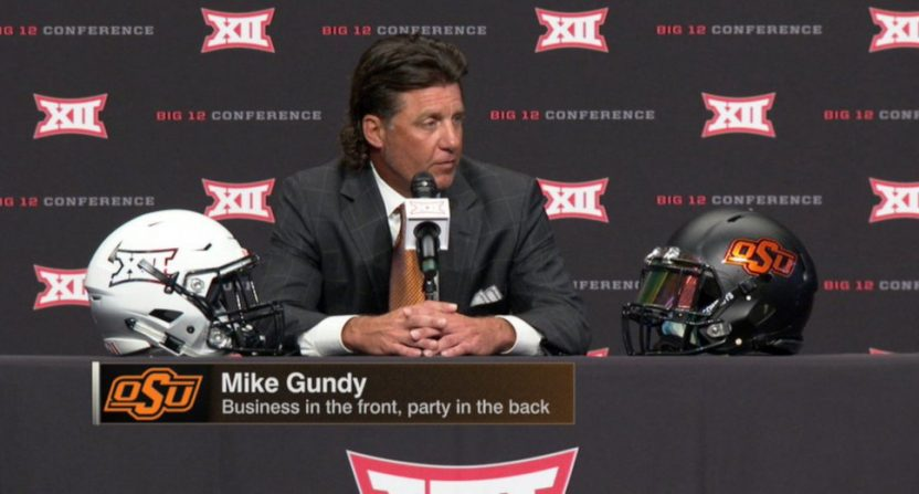 A Longhorn Network graphic for Oklahoma State coach Mike Gundy.