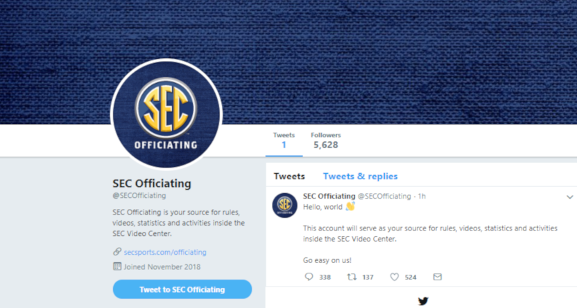 The new SEC officiating Twitter account.