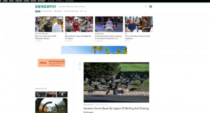 Deadspin's front page on August 16, 2019.
