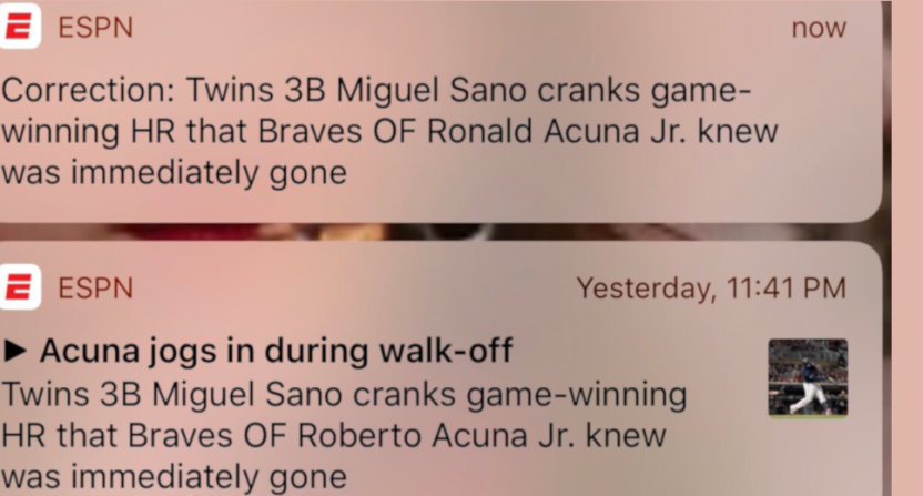 "ESPN called Ronald Acuña Jr. ""Roberto"" briefly Monday."