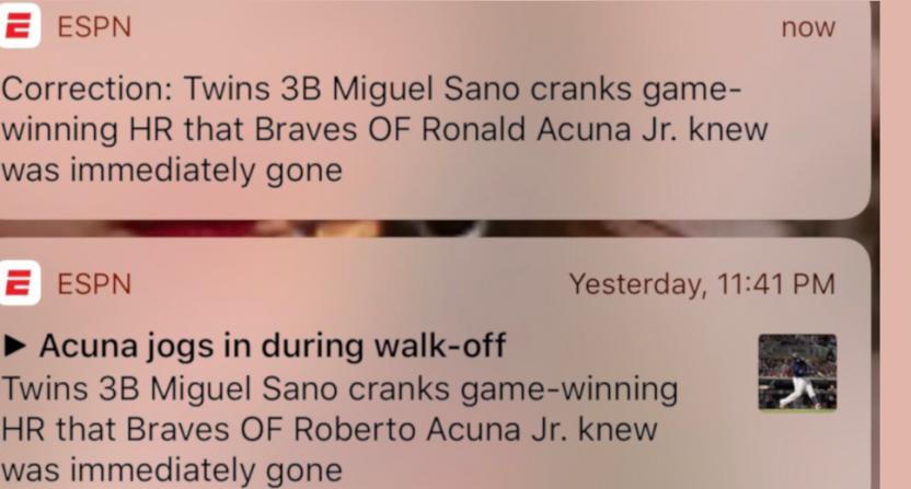 "ESPN called Ronald Acuña Jr. ""Roberto"" briefly Monday."