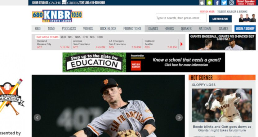 The KNBR website on Aug. 27, 2019.