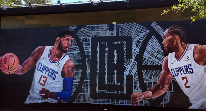 The NBA schedule has a lot of Clippers games, boosted by the arrival of Paul George and Kawhi Leonard (seen in this LA mural).