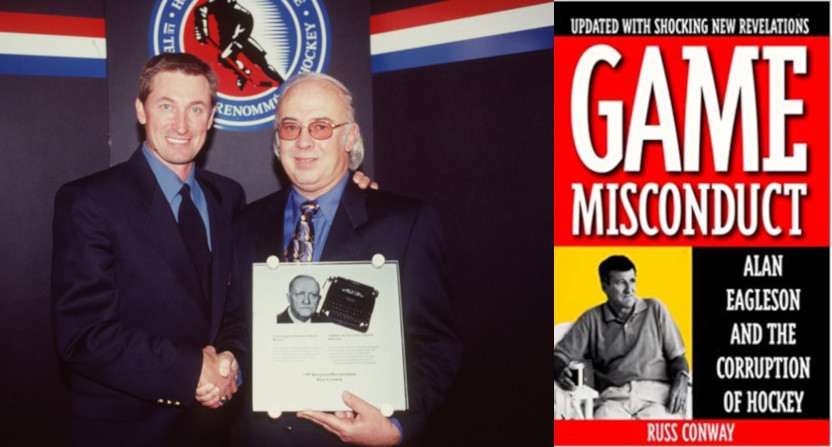 Russ Conway with Wayne Gretzky at a 1999 Hockey Hall of Fame ceremony at left, Conway's book on Alan Eagleson at right.