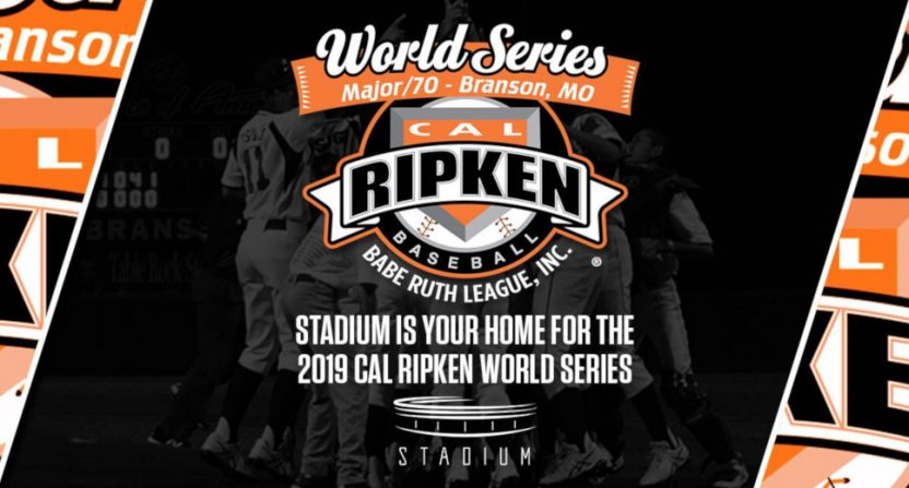 Stadium is broadcasting the Cal Ripken Major/70 World Series.