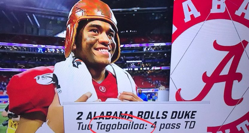 """ACC Network spelled Tua Tagovailoa's name as """"Tagobailoa."""""""