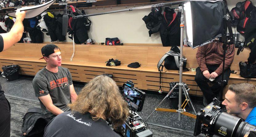 Behind The Glass interviewing Flyers' goalie Carter Hart.