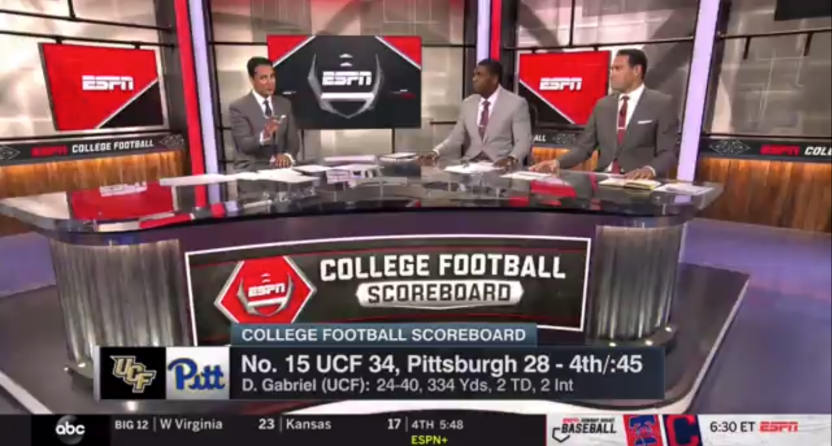 Many ABC affiliates cut away from UCF-Pitt to this scoreboard update, then commercials, then local news.