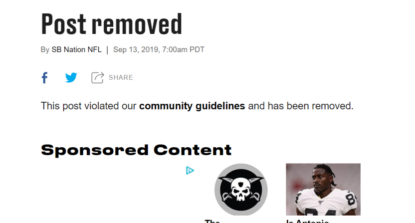 Sb Nation Deletes Satirical Raiders Team Site Post Filled With Racism Jokes About Domestic Violence