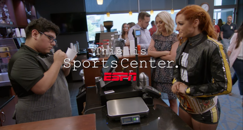 Becky Lynch on a This Is SportsCenter ad.