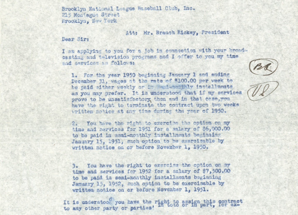 Vin Scully's first contract with the Brooklyn Dodgers is up